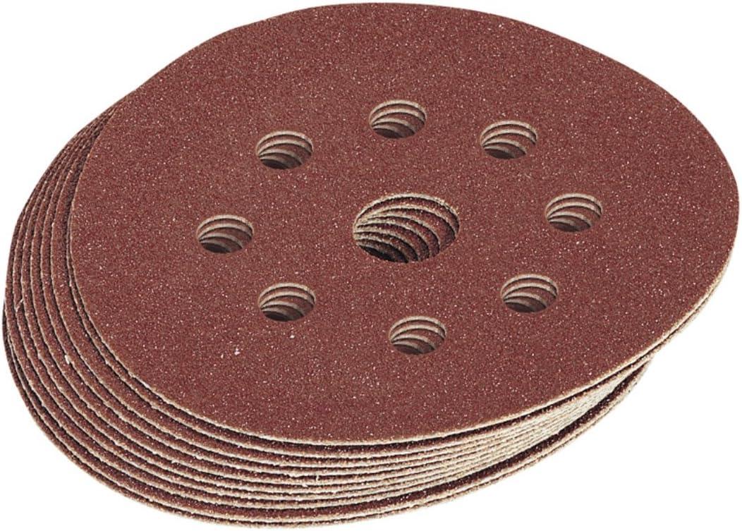 Pack of 10 Draper 63369 125 mm 100-Grit Hook-and-Loop Sanding Discs