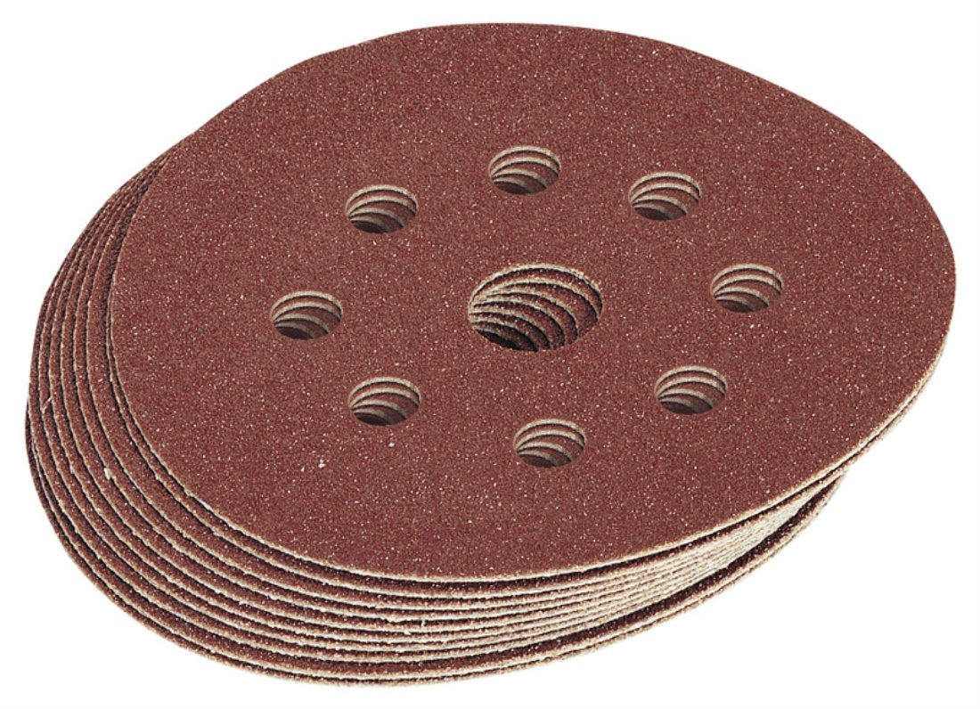 Draper 63372 125mm Assorted Aluminium Oxide Discs(10 pack) Draper Tools Accessories Sanding Sheets Detail Sheet Power Tools Multi Sheet