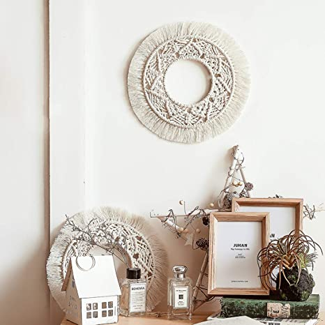 Amazon Com Nicekojo Handmade Round Macrame Wall Hanging Boho Cotton Woven Tapestry Home Decor Wall Pediments Art For Kids Room Party Wedding Decoration Ornament Craft Gift Home Kitchen