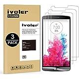 iVoler [3 Unidades] Protector de Pantalla para LG G3, Cristal Vidrio Templado Premium