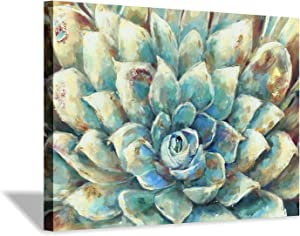 Succulent Abstract Canvas Wall Art: Floral & Botanical Artwork Painting Print Decor Picture for Bath Room(36''x24'')