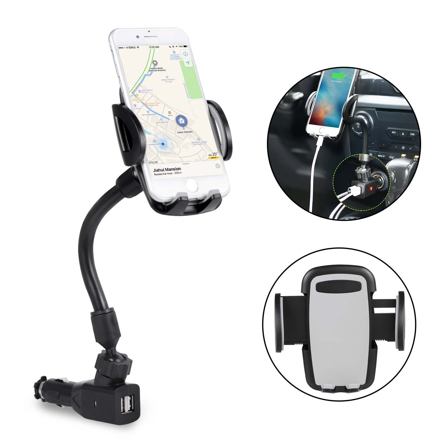 3-In-1 Cigarette Lighter Car Mount, Car Mount Charger Holder Cradle with Dual USB 2.1A Charger for iPhone X 8 8 Plus 7 7 Plus 6s 6s Plug Samsung Galaxy S9 Note 8 S8 S8 Plus S7 Edge and More