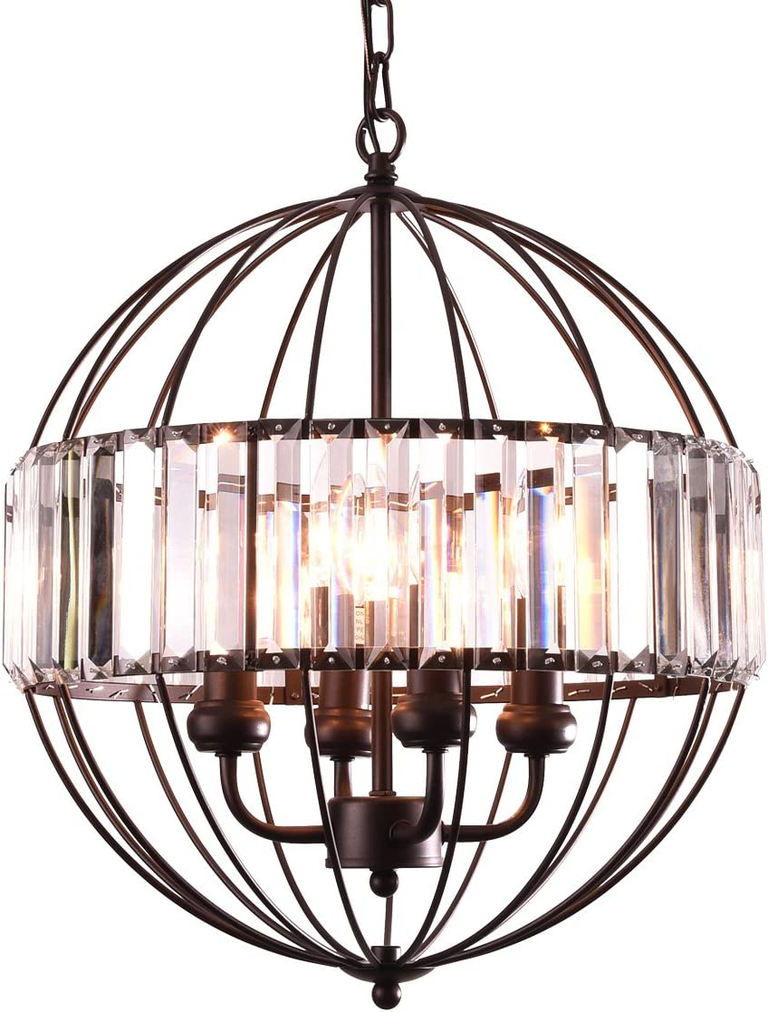 mirrea Vintage Metal Cage Crystal Chandeliers Pendant Lights Oil Rubbed Dark Bronze 4 Lights of Candelabra Base