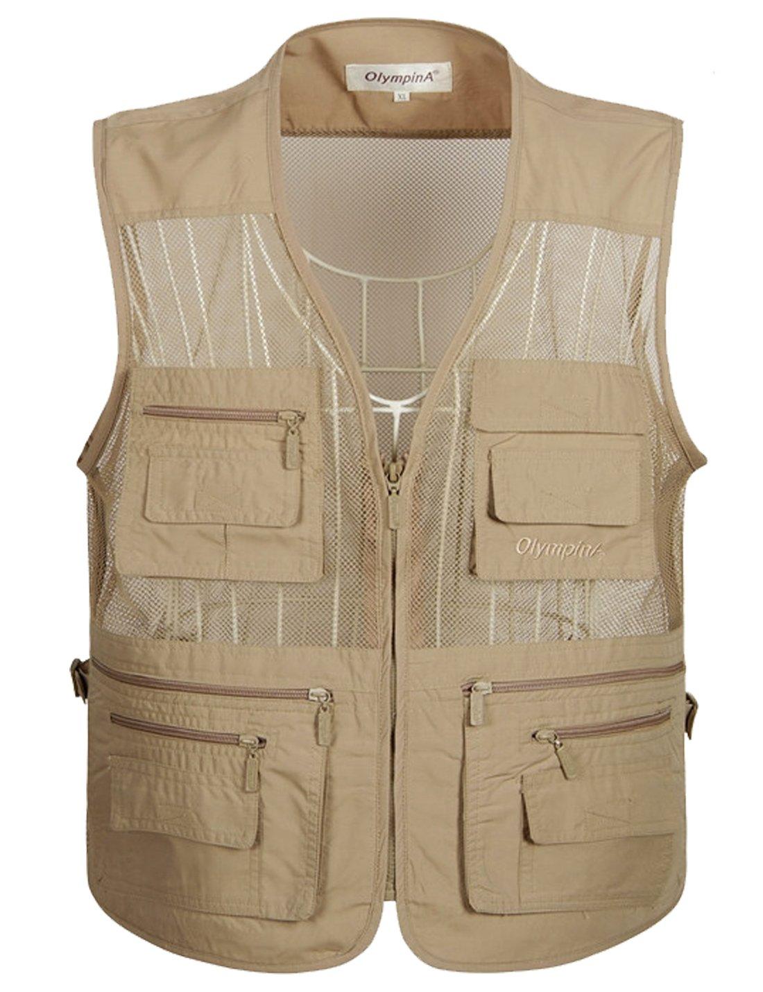 Flygo Men's Summer Mesh Fishing Vest Photography Work Multi-Pockets Outdoors Journalist's Vest Sleeveless Jacket (XX-Large, Khaki)