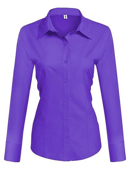 ec7662266bb5c HOTOUCH Chemise Violette Femme Chemisier à Manches Longues Taille Ajustée  Casual Business Coton Taille S