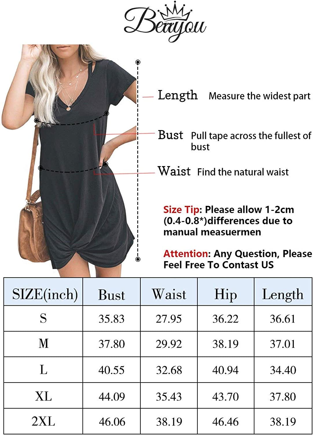 Berryou Women's Casual Short Sleeve V Neck Front Knot Twist Tie T Shirt Dress: Clothing