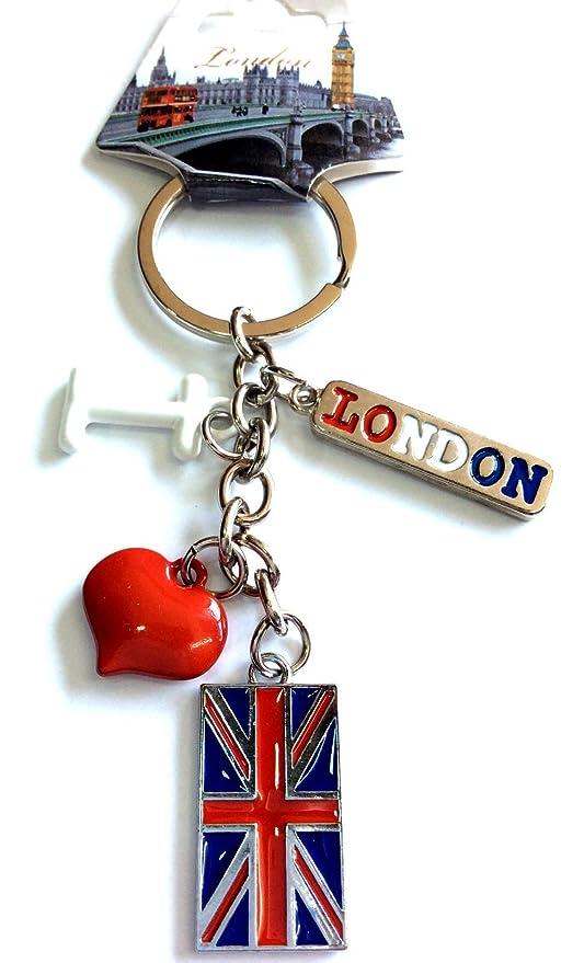 I Love London Corazón Rojo Bandera de Inglaterra Llavero ...