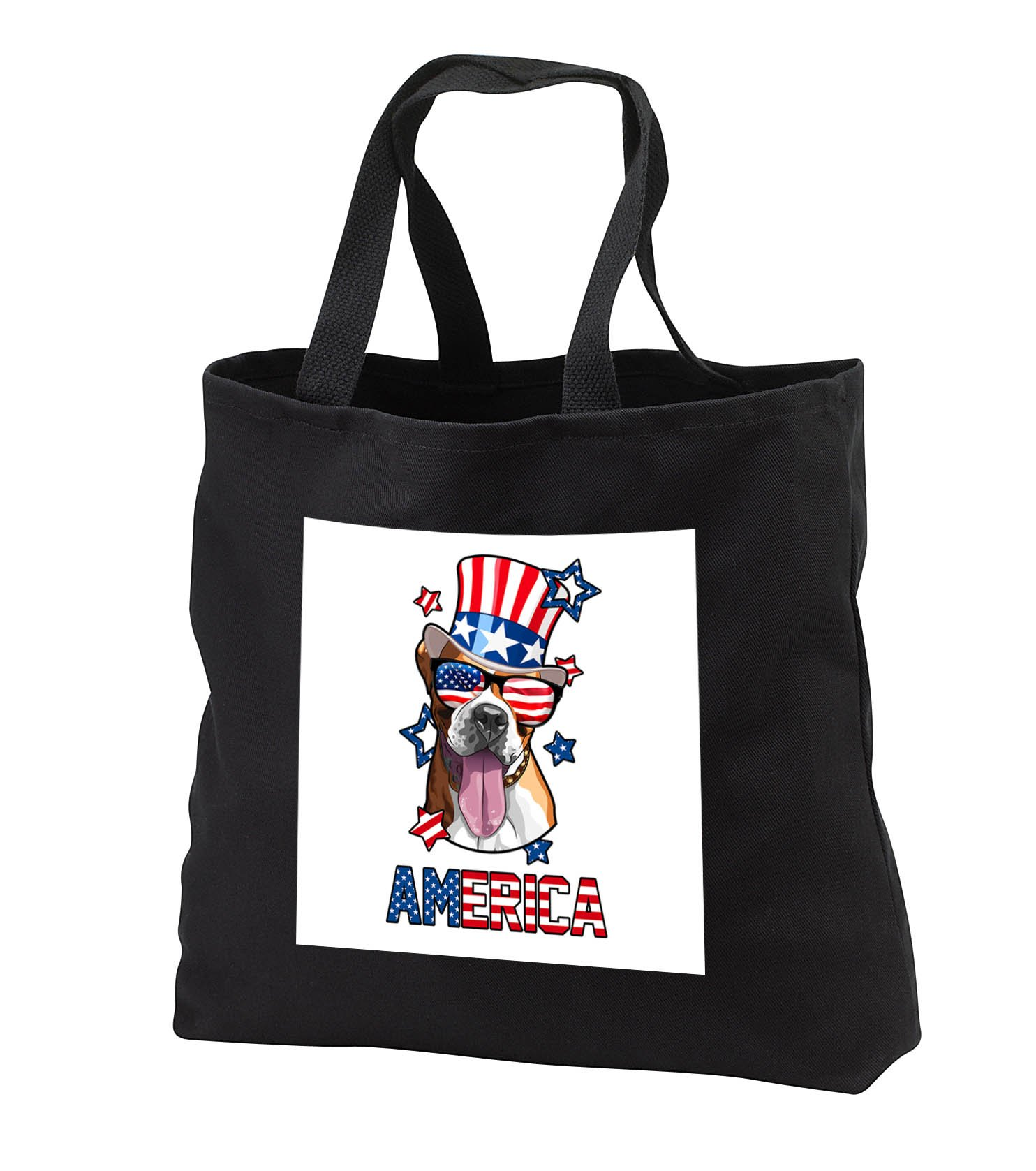 Patriotic American Dogs - Boxer Dog With American Flag Sunglasses and Tophat America - Tote Bags - Black Tote Bag JUMBO 20w x 15h x 5d (tb_284227_3)
