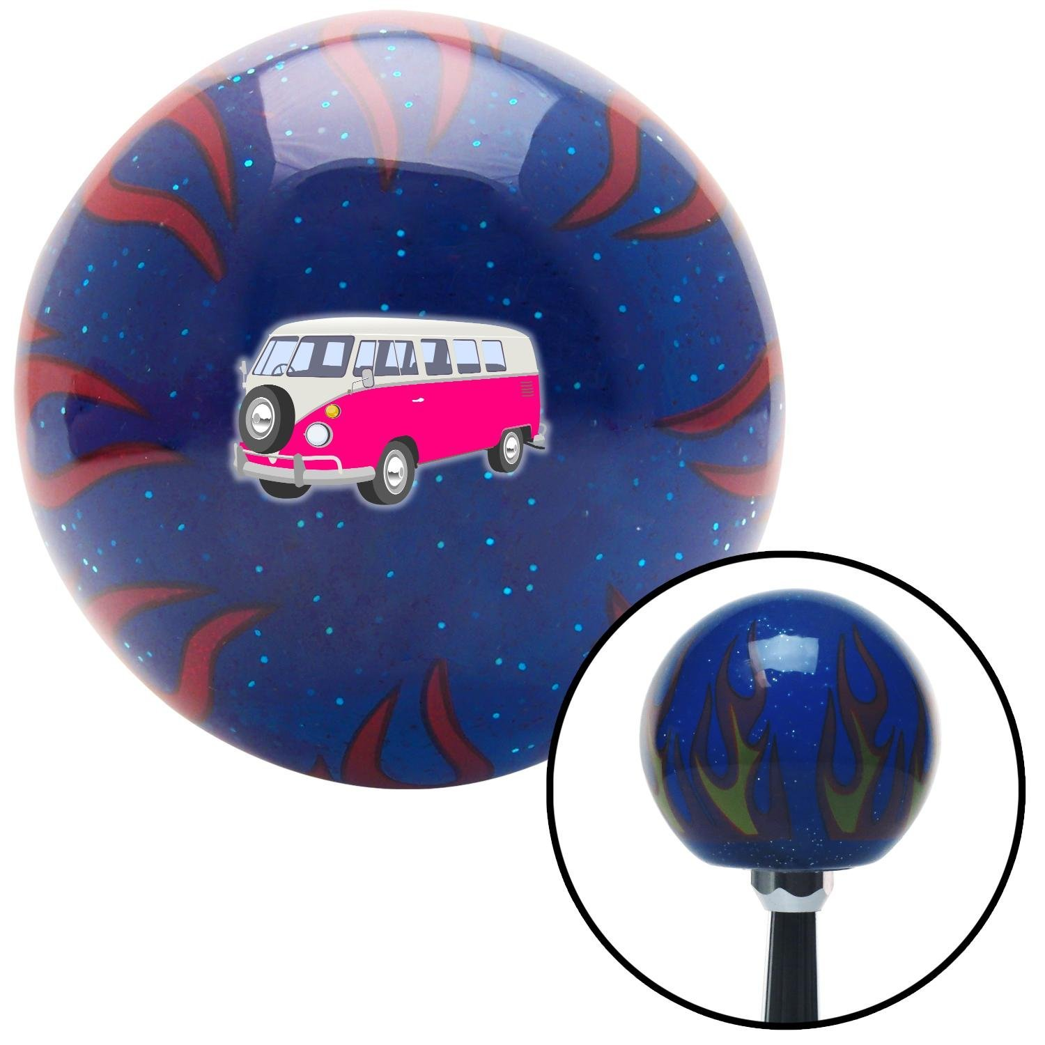 American Shifter 251847 Blue Flame Metal Flake Shift Knob with M16 x 1.5 Insert Pink Camper