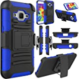 Galaxy Core Prime Case, EC™ Galaxy Prevail LTE Case, Hybrid Armor Dual Layer Full Body Protective Holster Case with Kickstand + Belt Swivel Clip for Samsung Galaxy Core Prime (Black+Dark Blue)