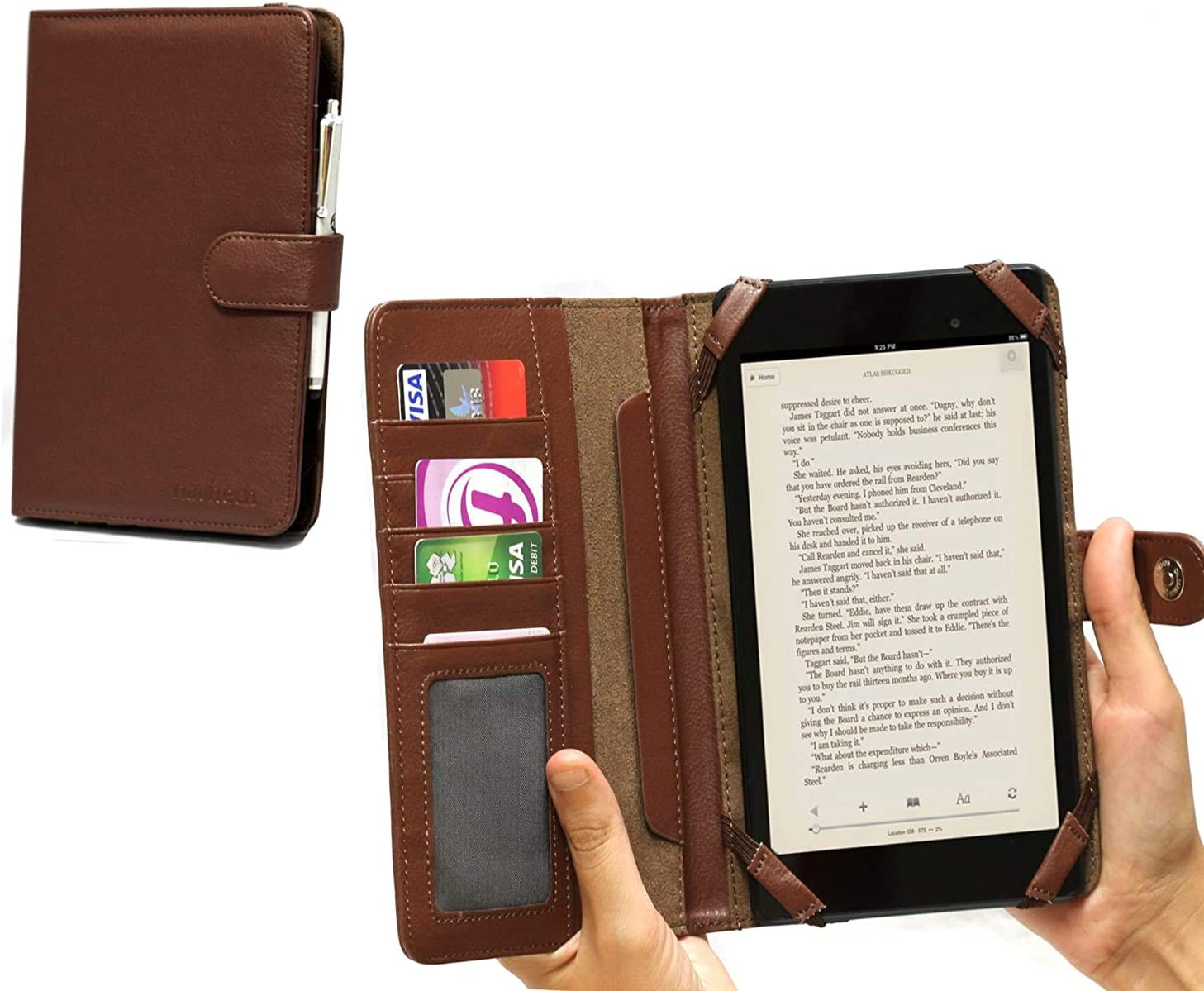 """Navitech 7"""" Brown Leather Book Style Folio Case/Cover & Stylus Pen Compatible with The Dell Venue 7 / LG G Pad 7.0"""