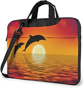 Dolphins Swimming in Sunset Laptop Shoulder Messenger Bag,Laptop Shoulder Bag Carrying Case with Handle Laptop Case Laptop Briefcase 15.6 Inch Fits 14 15 15.6 inch Netbook/Laptop