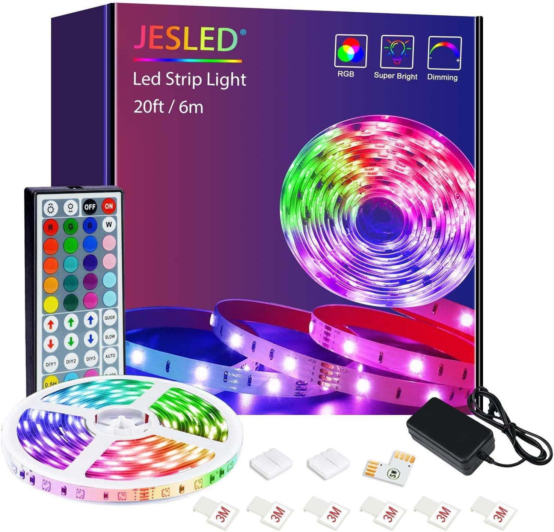 JESLED LED Strip Lights 6M/20FT, RGB LED Light Strips Kit with 44 Key IR Remote, 5050 Color Changing Strip Light LED Lights for Bedroom,Home Bar Party Decoration