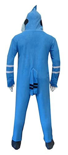 136676f65 Amazon.com  Regular Show Men s Mordecai Footie Onesie Pajamas with ...