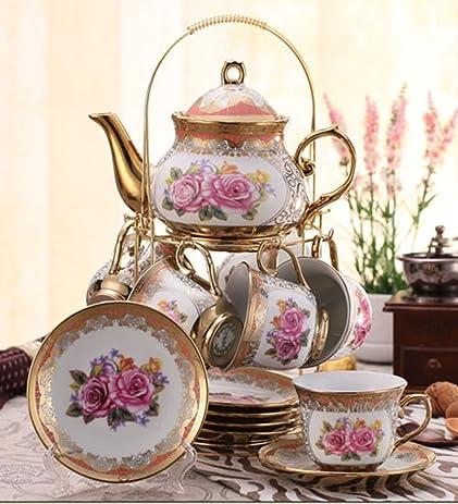 Ufengke Wedding Birthday 13 Piece Gold Red Flower European Style Chinese Ceramic Tea Set