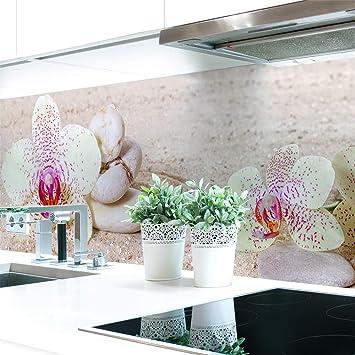 Amazon De Kuchenruckwand Orchideen Weiss Premium Hart Pvc 0 4 Mm