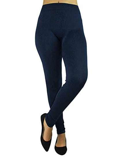 92b61cce9e704 Dark Navy Blue Full Length Seamless Leggings For Women at Amazon Women's  Clothing store: