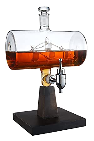 El Vino Savant barco decantador, dispensador de bebida para vino, whisky, Brandy, Tequila, Bourbon, Scotch, Ron y licor o licores 1000 ml: Amazon.es: Hogar
