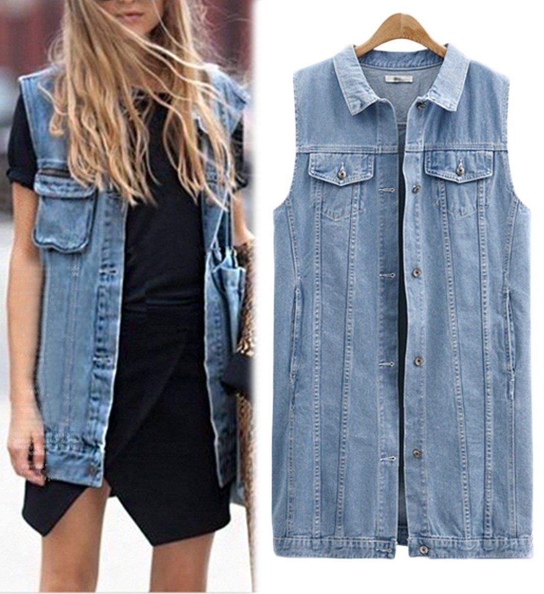 Innifer Women Plus Size Casual Lapel Sleeveless Button up Jean Denim Jacket Vest