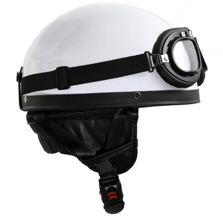 ATO Casco vintage con gafas color blanco y negro tama/ño XS hasta XL