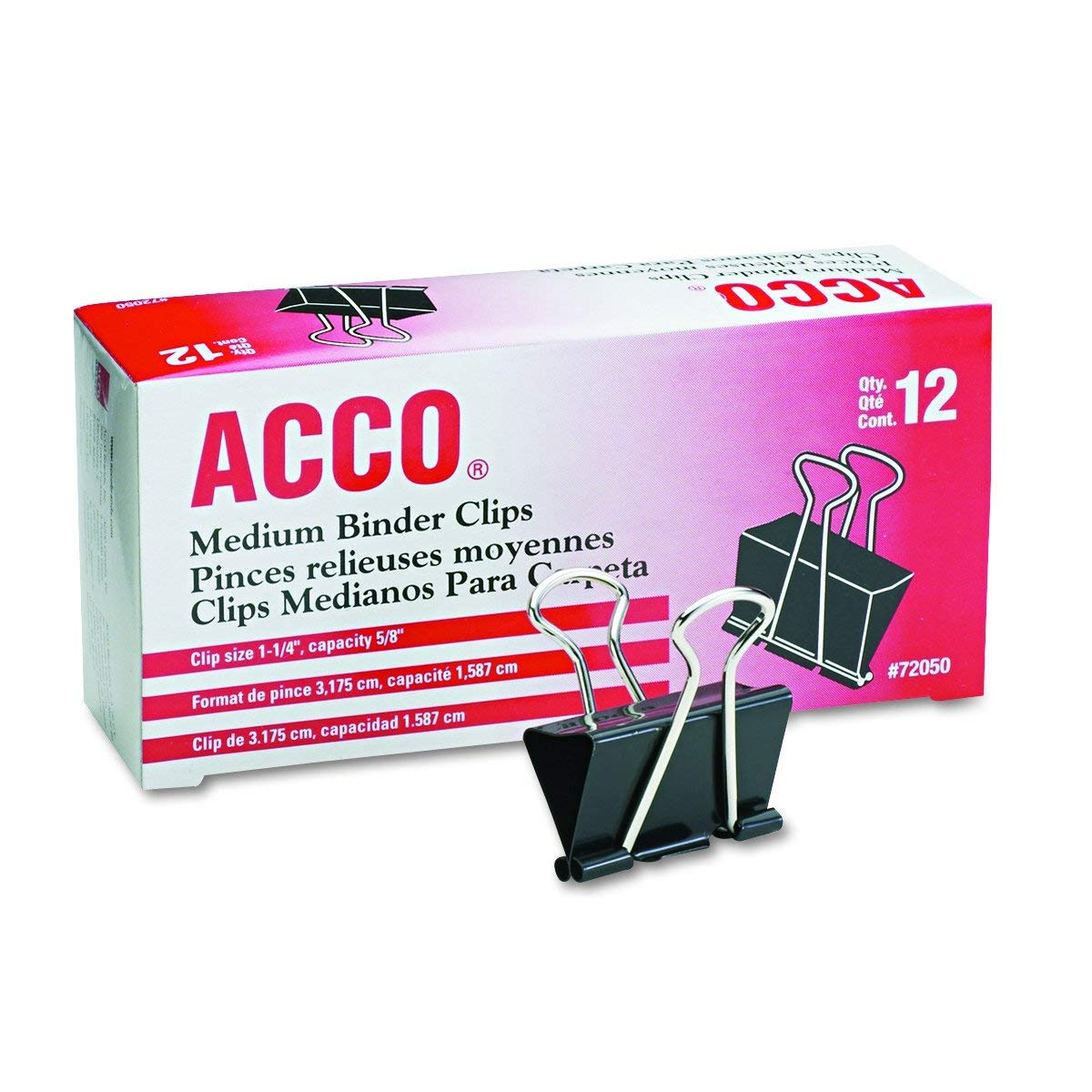 ACCO Binder Clips, Medium, 1 Box, 12 Clips/Box (72050), Pack of 10 by ACCO Brands
