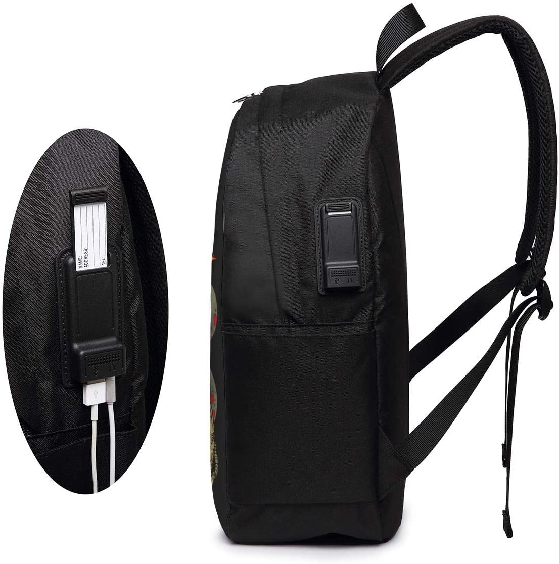 Suicide Silence School Backpack 17-Inch Bag with USB Charging Port /& Headphone Port Black