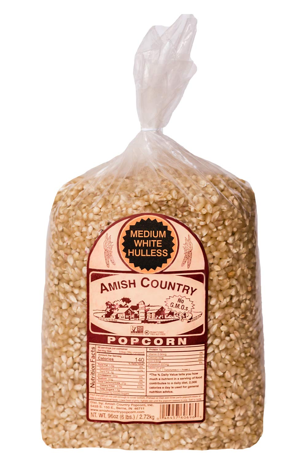 Amish Country Popcorn - Medium White (6 Pound Bag) Popcorn Kernels with Recipe Guide, Old Fashioned, Non GMO, Gluten Free, Microwaveable, Stovetop and Air Popper Friendly by Amish Country Popcorn