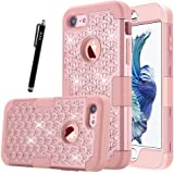 iPhone 7 Case Phone Case HKW Bling Glitter Sparkle Rhinestone shiny 3 IN 1 Armor Defender Shockproof Back Case Protective Cover for Apple iPhone 7 Diamond 4.7 Inch Case -Rose Gold (MA1856)