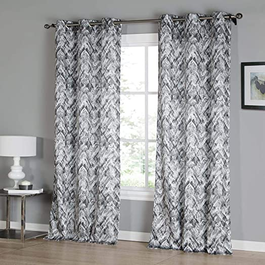 Kensie Neila Grommet Top Window Curtain Drapes for Bedroom, Livingroom, Kids Room, Children, Nursery-Assorted Colors-Set of 2 Panels, 38 x 96 Inch, Grey, 2 Piece