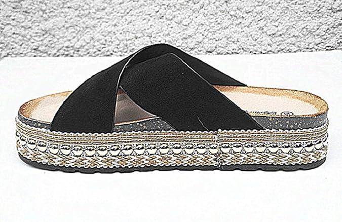 fashionfolie Femme Pantoufles de Plate-Forme Talon Compensés DE 4 cm Plage  D Été Cloutée Sandale S01 Noir  Amazon.fr  Chaussures et Sacs 8c1810169555