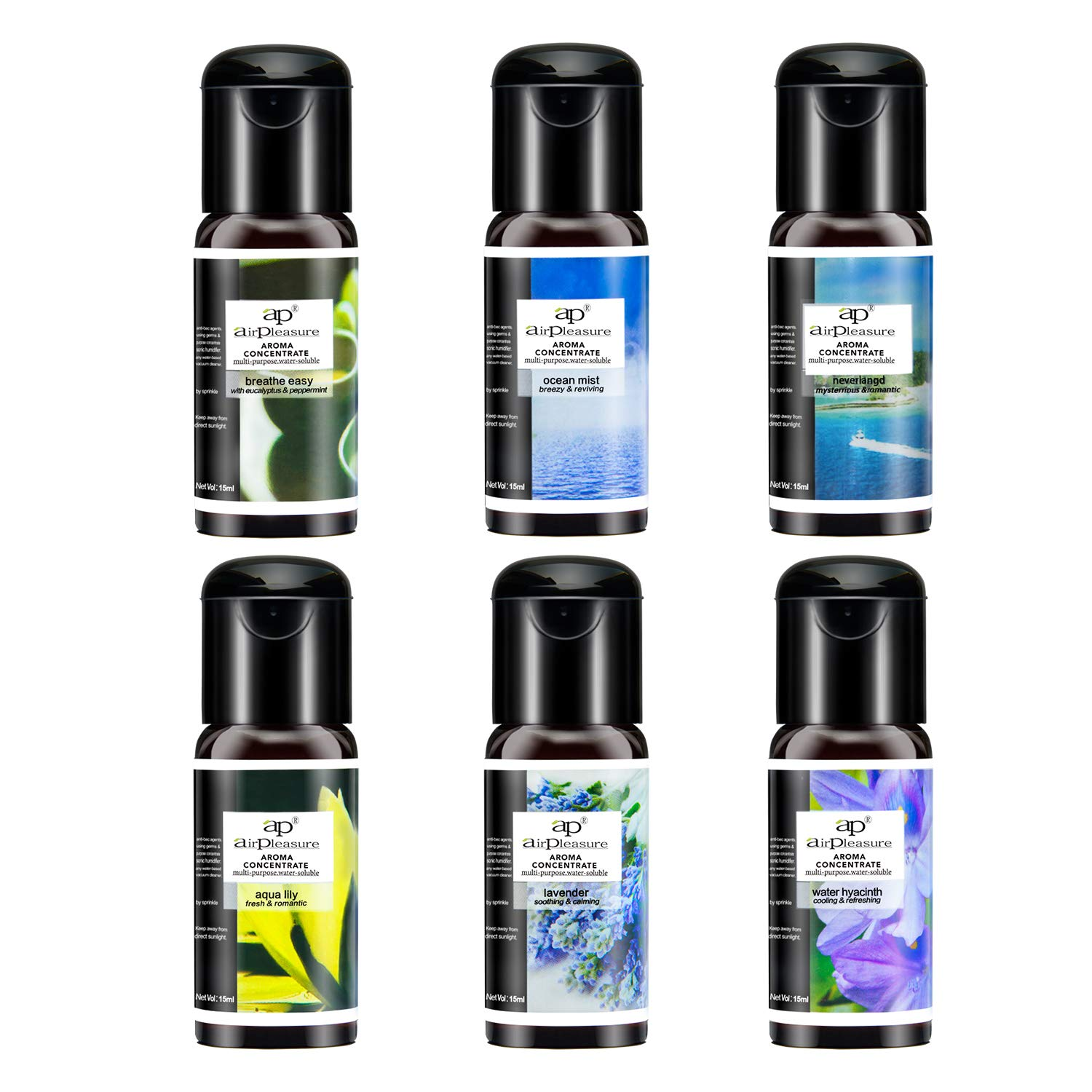 ap airpleasure Essential Oils Reborn Aroma Oils Multifunction Blends Gift Set Oils for Aromatherapy Diffuser, Humidifier, Fresher, Natural Aroma Oils, 6 Bottles, 15 ML