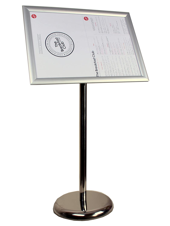 Alsero regolabile Metallic Pedestal Sign Holder, espositore per poster A3, argento telaio, angoli squadrati