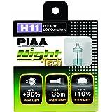 PIAA 10711 H11 Night Tech High Performance Halogen Bulb, (Pack of 2)
