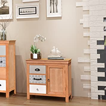 Festnight Solid Wood Sideboard 3 Drawers Storage Chest Unit Dining Room  Furniture 65 X 35 X