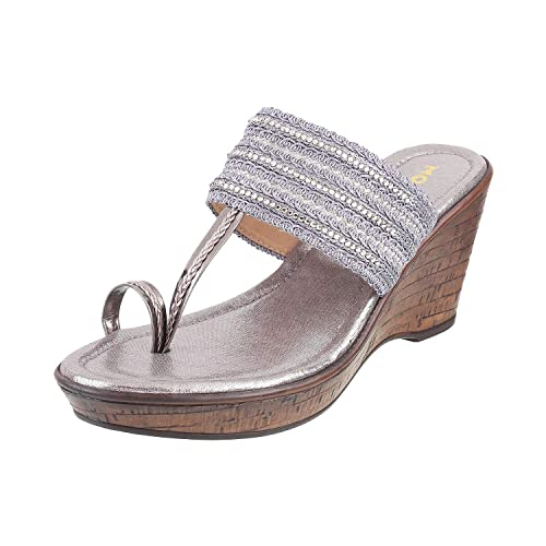507dd175f4 Mochi Women's Gun Metal Fashion Sandals-7 UK/India (40 EU) (34-9376-29-40): Buy  Online at Low Prices in India - Amazon.in