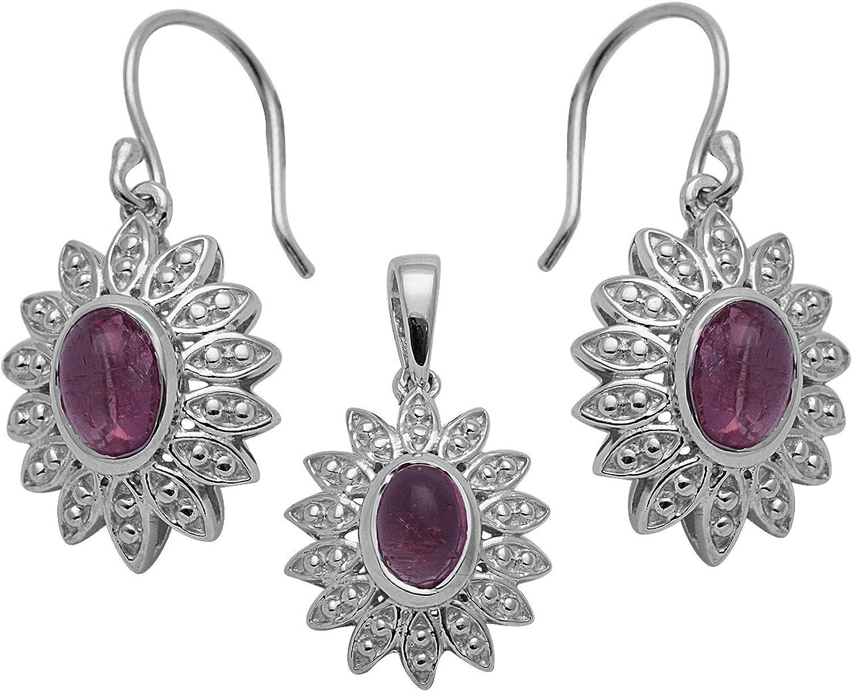 conjunto de 925 pendientes colgantes de plata de ley con turmalina rosa ovalada para mujer
