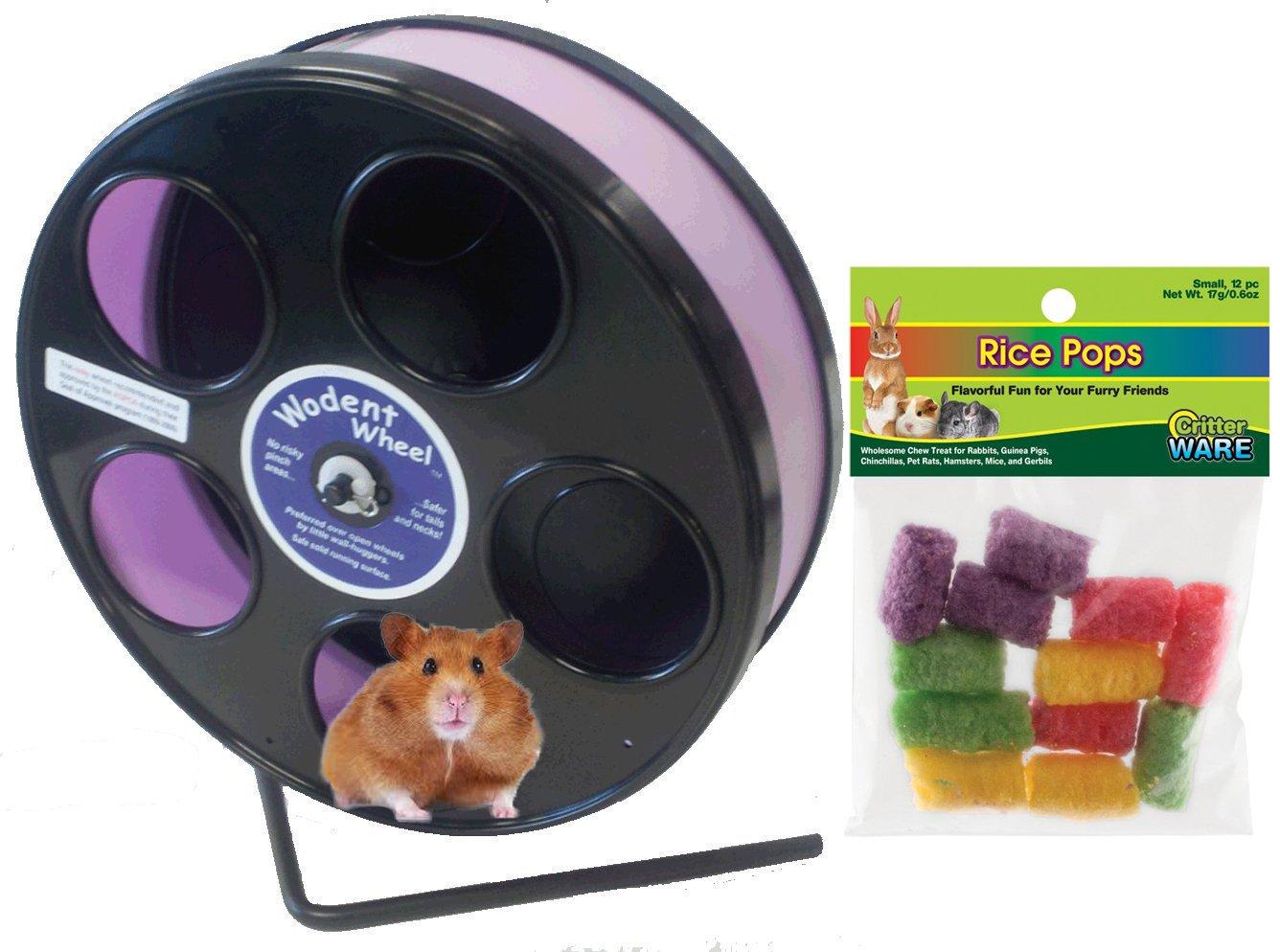 Hamster Wheel 8 inch Transoniq Wodent Wheel Junior, Black with Lavender Track and Ware Rice Pops-Small Animal Treat