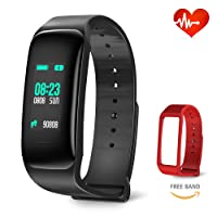 Fitness Tracker, Blood Pressure Bracelet Waterproof IP67 Heart Rate Sleep Monitor, Phone Call SMS SNS Alert via Bluetooth Smart Activity Tracker with Pedometer, Calorie Step Counter for Men Women