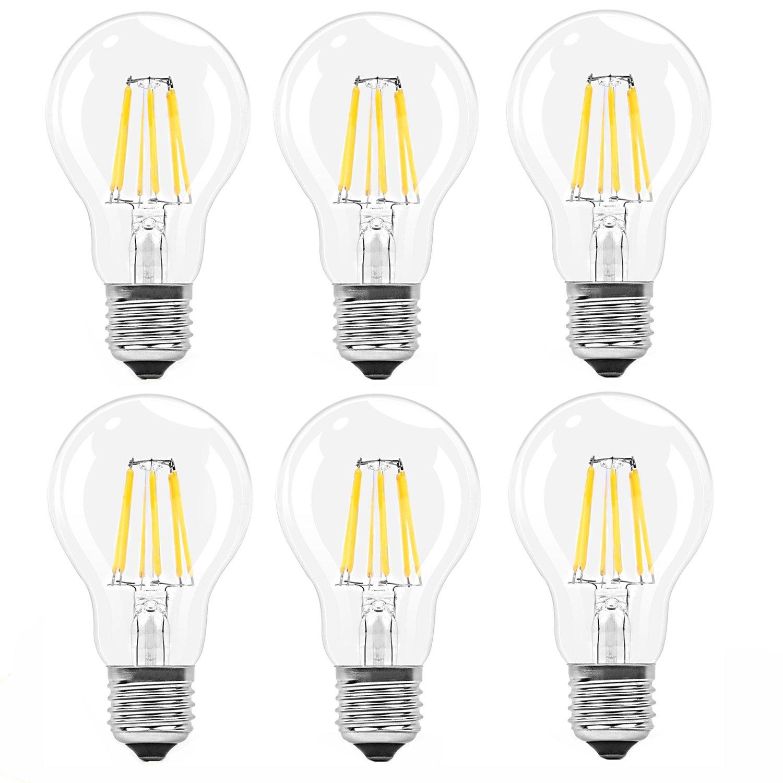 6X E27 Ampoule Edison Vintage 6W Lampe à Filament LED G95 Ampoules Rétro Blanc Chuad 480LM Super Brillant Luminaire Vintage AC85-265V ITALASA