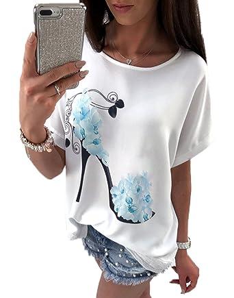 58b67110ca7b YMYY-Kleider Sommer Modern Damen Freizeit Locker Hemden Blouse Oberteile  Rundhals Fledermausärmel High Heels Drucken Top  Amazon.de  Bekleidung