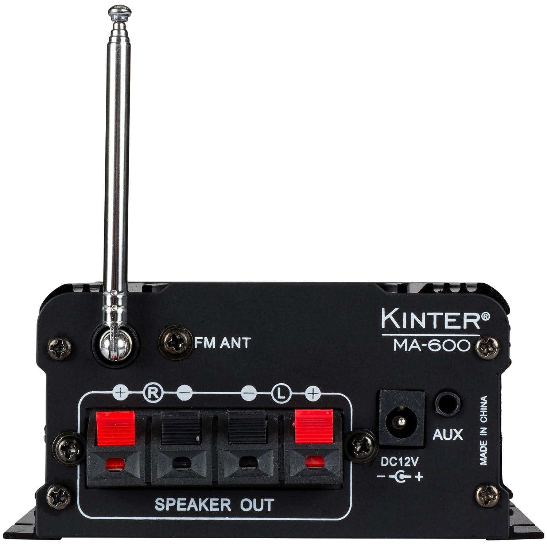 Amazon.com: Kinter MA-600 2-Channel Mini Amplifier with Remote USB MP3 Media Card FM 2 x 18W: Home Audio & Theater