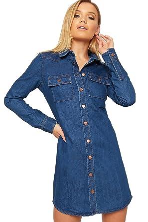 356864f1834a9e WearAll Women s Denim Shirt Mini Dress Top Ladies Long Sleeve Button  Through Collar - Blue -