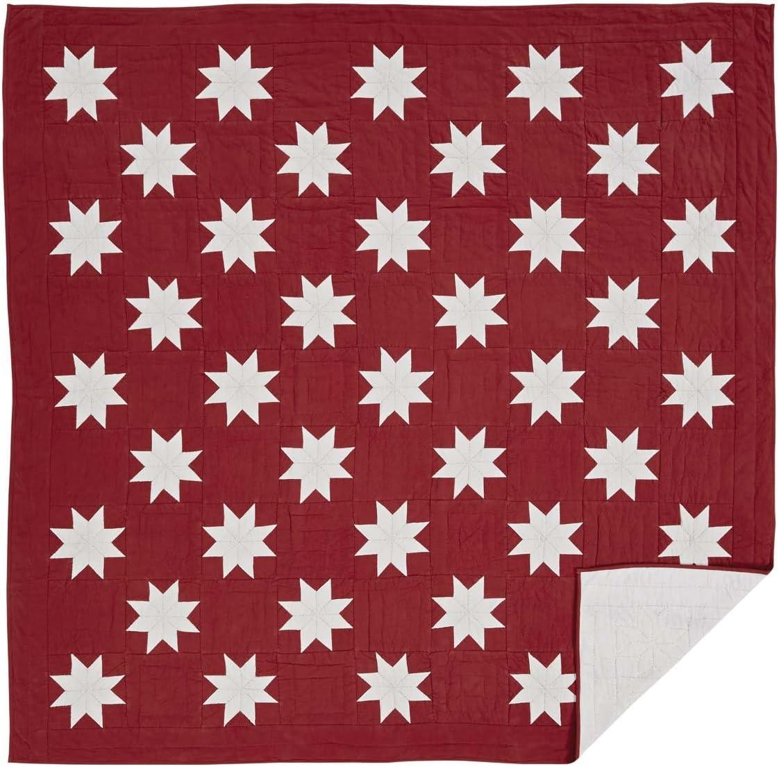 VHC Brands Christmas Farmhouse Bedding - Kent Red Quilt, Queen, Crimson