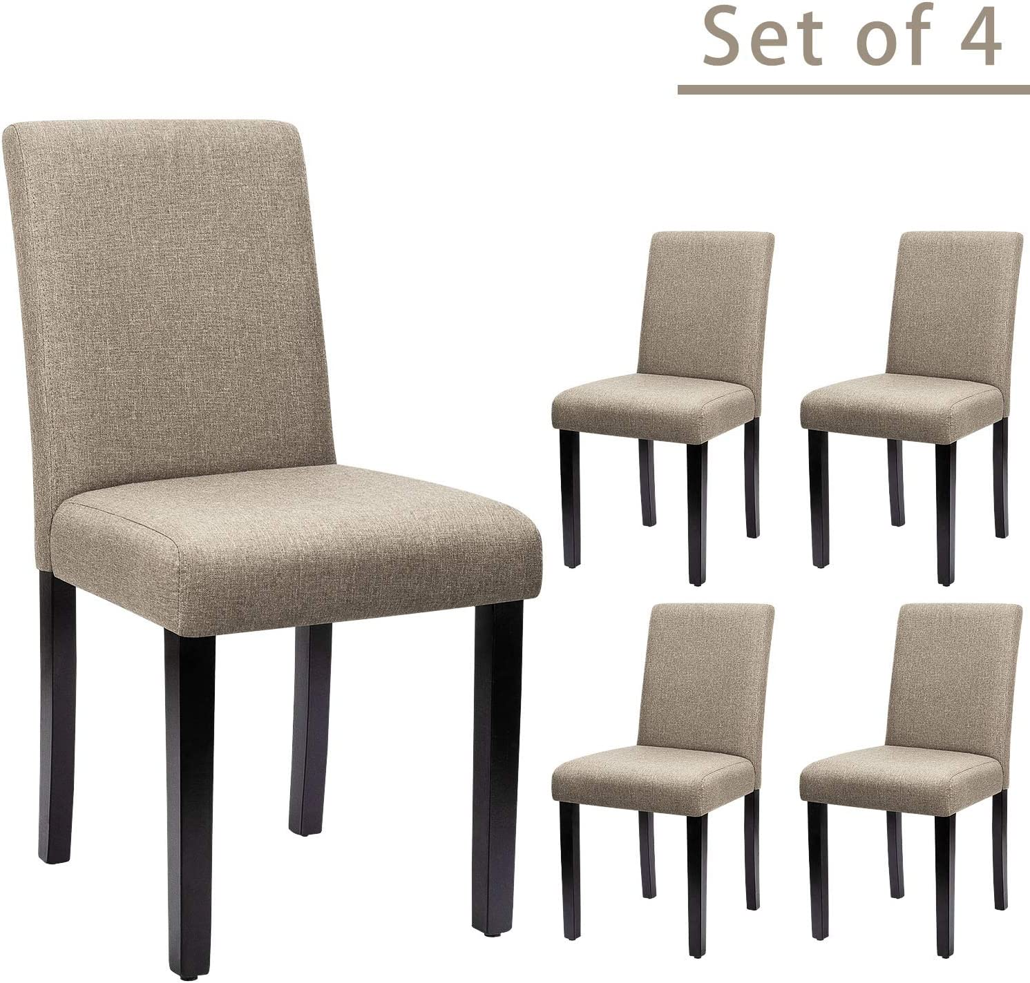 Furniwell Dining Chairs Fabric Upholstered Parson Urban Style Kitchen Side Padded Chair with Solid Wood Legs Set of 4 Beige