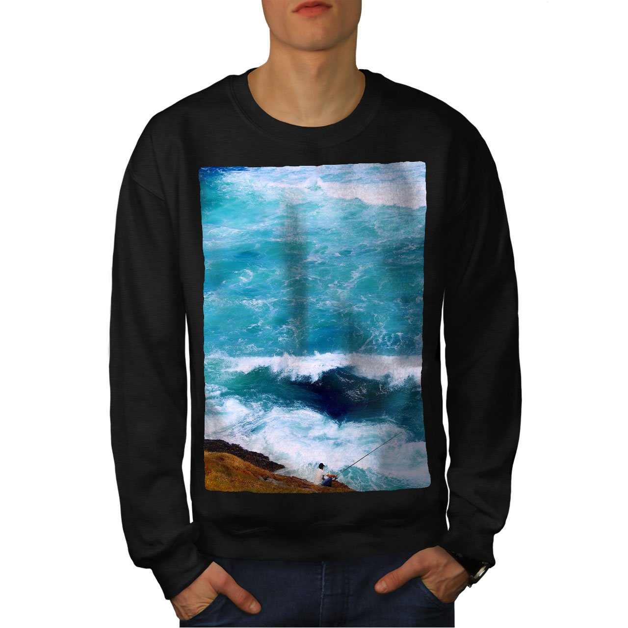 wellcoda Ocean Wave Photo Nature Mens Sweatshirt Deep Casual Jumper
