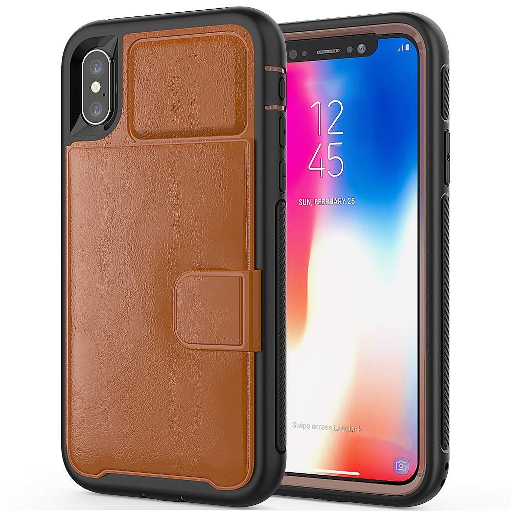 iPhone XSのためのEYZUTAKウォレットケースiPhone X、磁気カードスロット付きのPUレザー2in1ハードPCフレームTPUバンパースタンドiPhone XS/iPhone X 5.8インチ用の耐衝撃ケース - ダークブラウン   B07KZ7N447