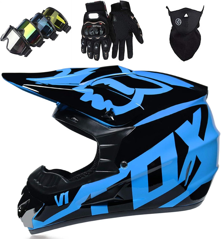 OTBKNB Cascos Integrales Infantil con Guantes Gafas Máscara, Aprobado Dot Conjunto Casco Motocross Motocicleta Adultos Casco Protector Offroad Dirt Bike con Diseño Fox, Azul Negro