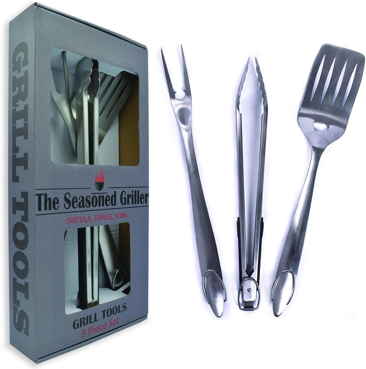 Extra Long Heavy Duty BBQ Grill Tools Set - 3 Piece Stainless Steel Utensils Set Includes Spatula Fork & Tongs - Barbecue Grilling Accessories - Outdoor Grilling kit in Gift Box Packaging