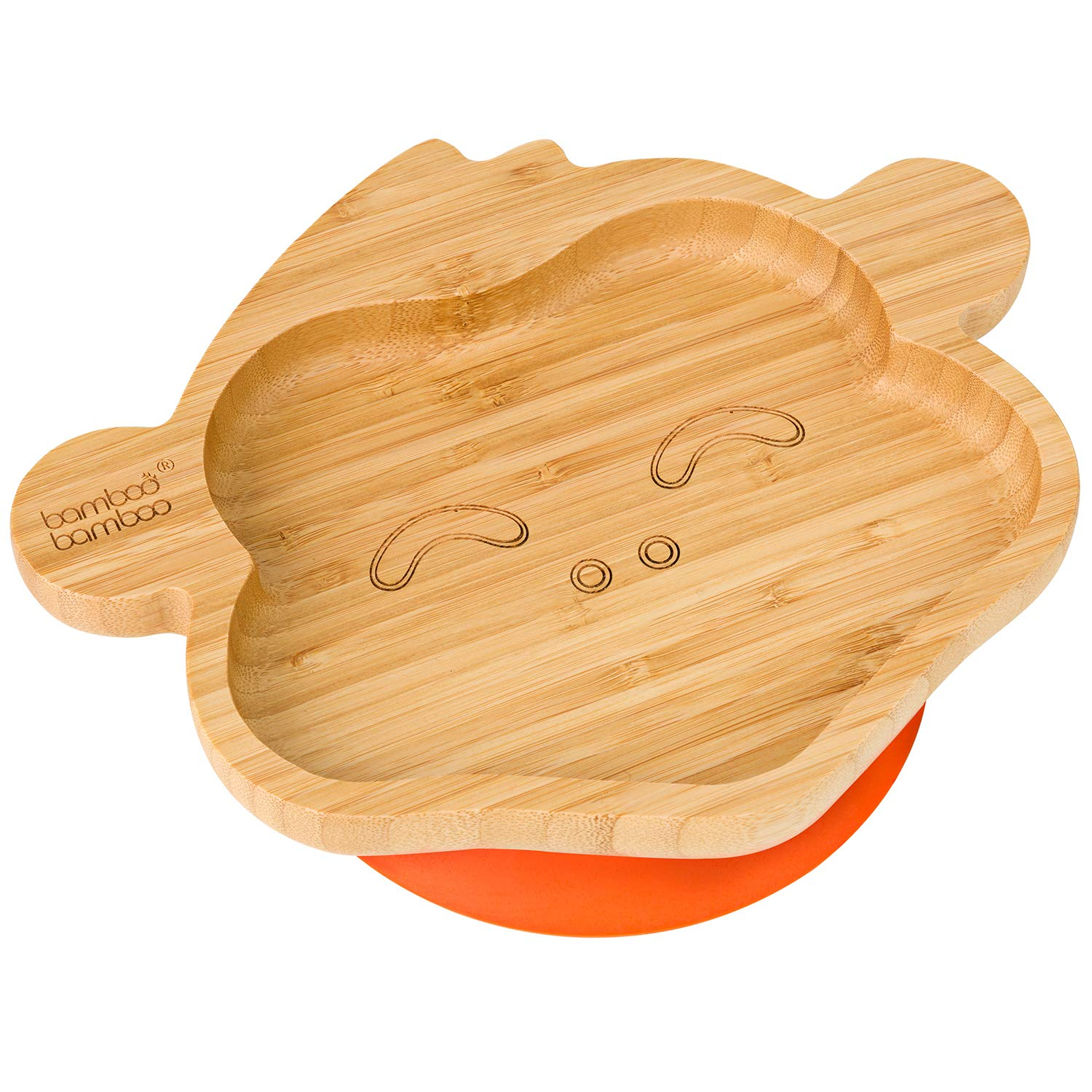 Stay Put Feeding Plate Blue Natural Bamboo Baby Toddler Monkey Suction Plate