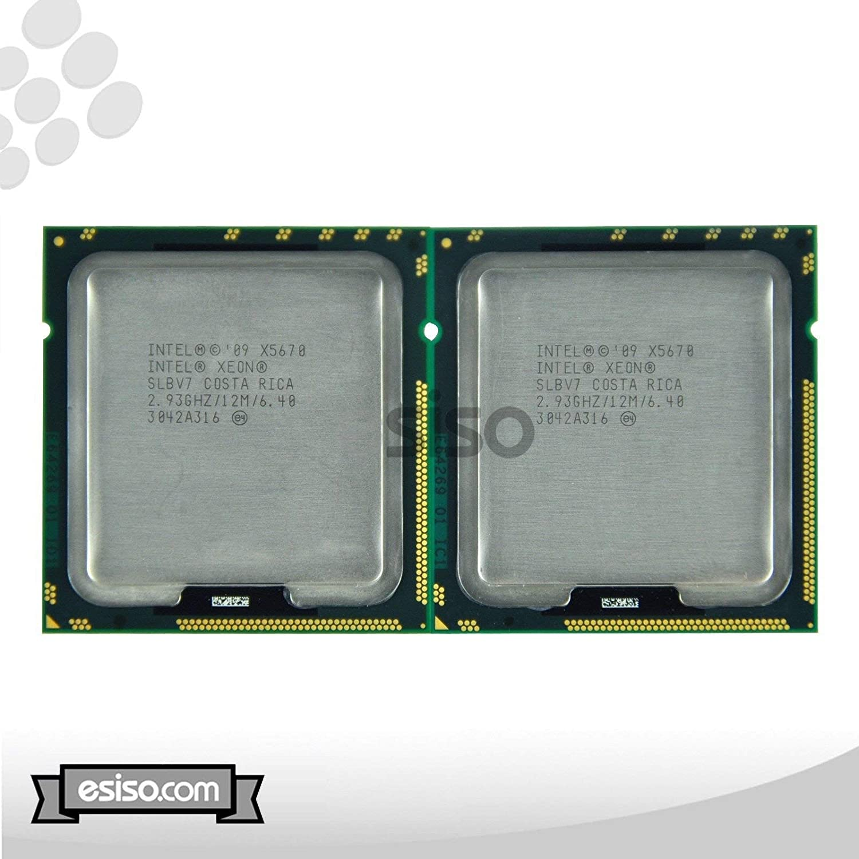 Matching Pair Intel Xeon X5670 Six Core Processor 2.93GH/z 12MB Smart Cache 6.4GT/s QPI TDP 95W SLBV7 BX80614X5670 (Renewed)